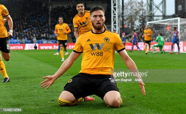 Matt Doherty of Wolverhampton Wanderers celebrates after scoring a goal to make it 0-1 during the Premier League match between Crystal Palace and...