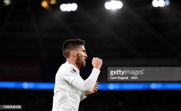 Matt Doherty of Wolverhampton Wanderers celebrates after scoring a goal to make it 0-1 during the Premier League match between Cardiff City and...