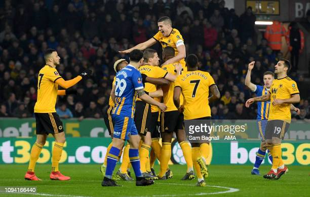 Matt Doherty of Wolverhampton Wanderers celebrates after scoring a goal to make it 10 with Conor Coady of Wolverhampton Wanderers during the FA Cup...