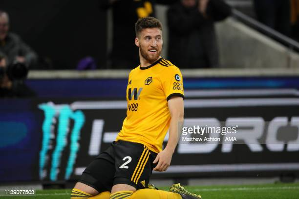 Matt Doherty of Wolverhampton Wanderers celebrates after scoring a goal to make it 20 during the Premier League match between Wolverhampton Wanderers...