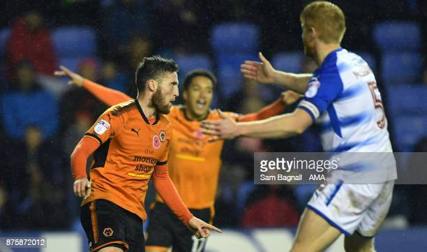Matt Doherty of Wolverhampton Wanderers celebrates after scoring a goal to make it 02 during the Sky Bet Championship match between Reading and...