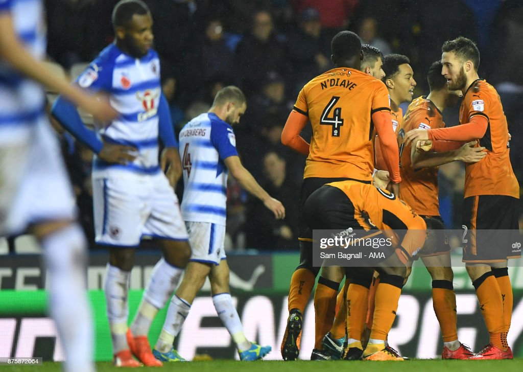 Matt Doherty of Wolverhampton Wanderers celebrates after scoring a goal to make it 0-2 during the Sky Bet Championship match between Reading and Wolverhampton at Madejski Stadium on November 18, 2017 in Reading, England.