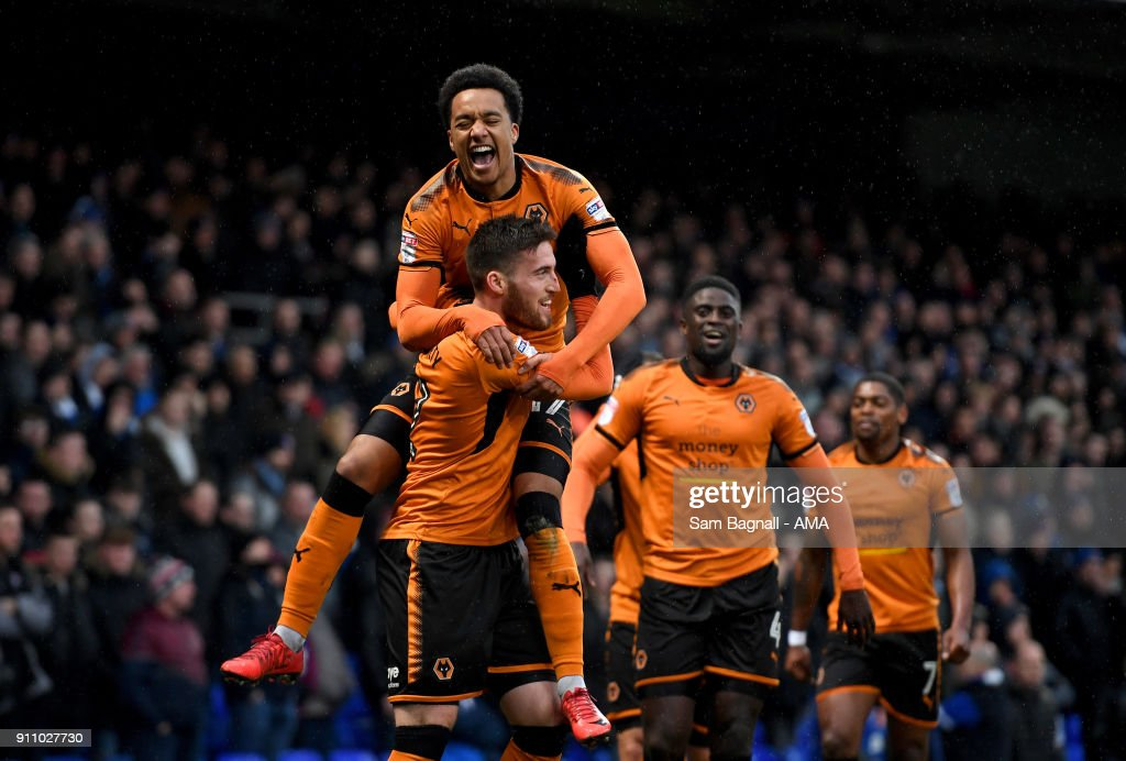 Matt Doherty of Wolverhampton Wanderers celebrates after scoring a goal to make it 0-1 during the Sky Bet Championship match between Ipswich Town and Wolverhampton at Portman Road on January 27, 2018 in Ipswich, England.