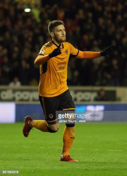 Matt Doherty of Wolverhampton Wanderers celebrates after scoring a goal to make it 10 during the Sky Bet Championship match between Wolverhampton...