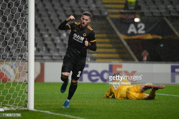 Matt Doherty of Wolverhampton Wanderers celebrates after scoring his team's second goal during the UEFA Europa League group K match between Sporting...