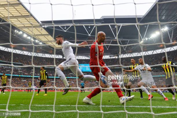 Matt Doherty of Wolverhampton Wanderers celebrates as he scores his team's first goal past Heurelho Gomes of Watford during the FA Cup Semi Final...