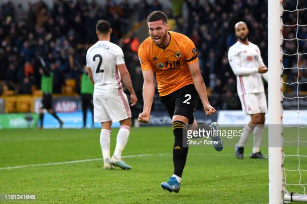 Matt Doherty of Wolverhampton Wanderers celebrates his teams equaliser during the Premier League match between Wolverhampton Wanderers and Sheffield...