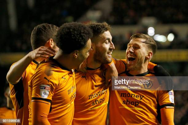 Matt Doherty of Wolverhampton Wanderers celebrates scoring his second goal with Barry Douglas during the Sky Bet Championship match between...
