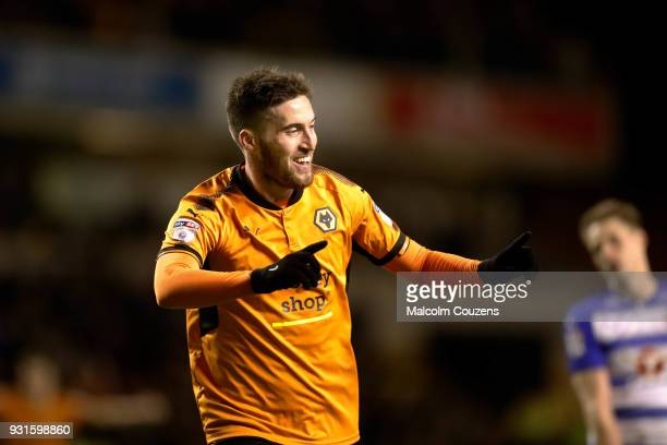 Matt Doherty of Wolverhampton Wanderers celebrates scoring his second goal during the Sky Bet Championship match between Wolverhampton Wanderers and...