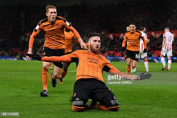 Matt Doherty of Wolverhampton Wanderers celebrates scoring his team's second goal during The Emirates FA Cup Third Round match between Stoke City and...