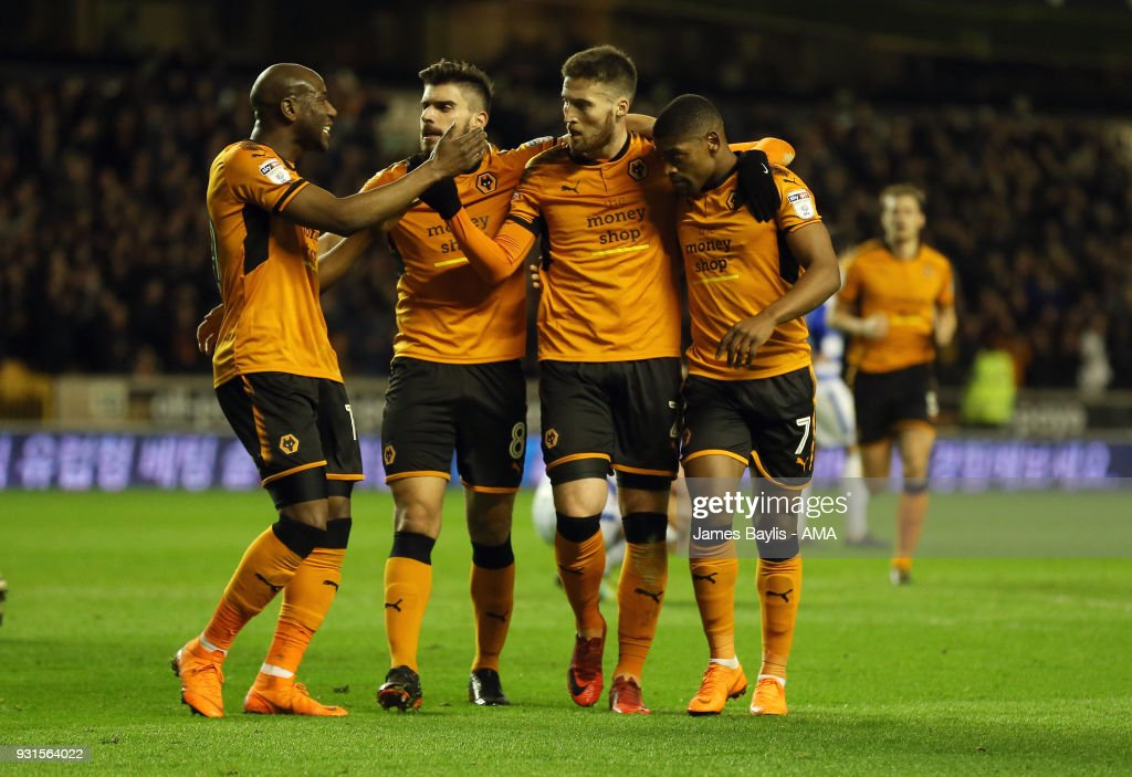 Matt Doherty of Wolverhampton Wanderers celebrates with his team mates after scoring a goal to make it 1-0 during the Sky Bet Championship match between Wolverhampton Wanderers and Reading at Molineux on March 3, 2018 in Wolverhampton, England.