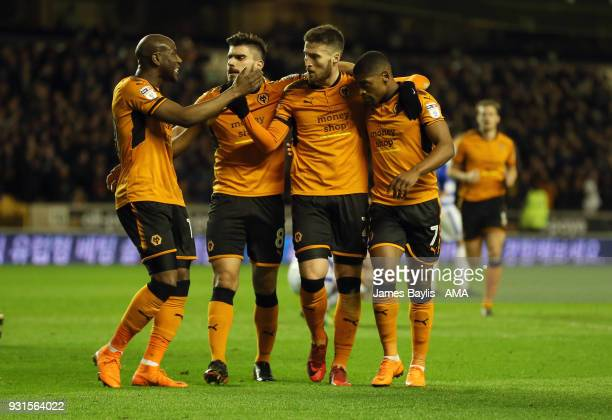 Matt Doherty of Wolverhampton Wanderers celebrates with his team mates after scoring a goal to make it 10 during the Sky Bet Championship match...