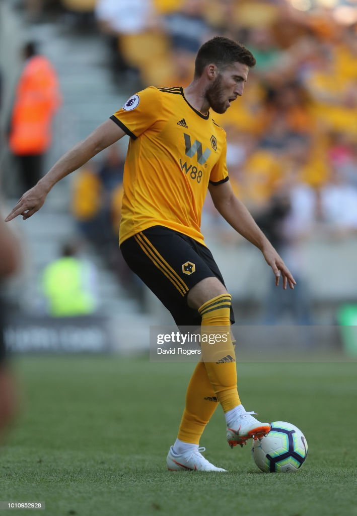 Matt Doherty of Wolverhampton Wanderers controls the ball during the pre-season friendly match between Wolverhampton Wanderers and Villareal at Molineux on August 4, 2018 in Wolverhampton, England.