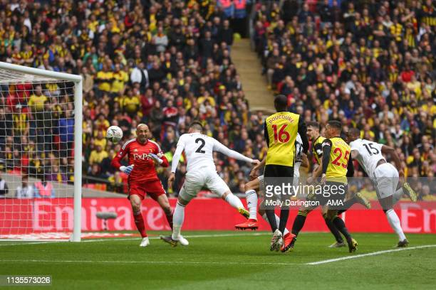 Matt Doherty of Wolverhampton Wanderers scores a goal to make it 01 during the FA Cup Semi Final match between Watford and Wolverhampton Wanderers at...