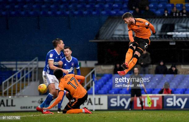 Matt Doherty of Wolverhampton Wanderers scores a goal to make it 01 during the Sky Bet Championship match between Ipswich Town and Wolverhampton at...