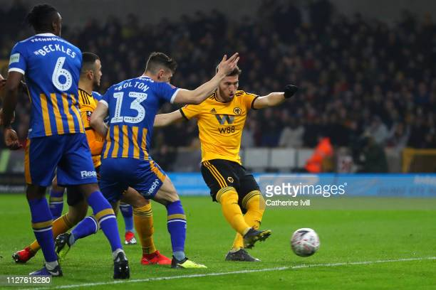Matt Doherty of Wolverhampton Wanderers scores his side's first goal during the FA Cup Fourth Round Replay match between Wolverhampton Wanderers and...