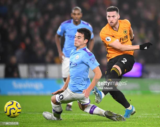 Matt Doherty of Wolverhampton Wanderers scores his sides third goal during the Premier League match between Wolverhampton Wanderers and Manchester...