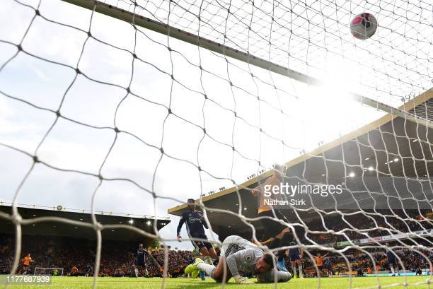 Matt Doherty of Wolverhampton Wanderers scores his team's first goal during the Premier League match between Wolverhampton Wanderers and Watford FC...