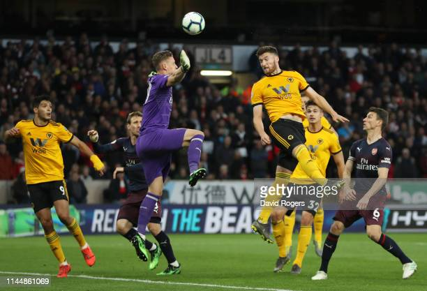 Matt Doherty of Wolverhampton Wanderers scores his team's second goal past Bernd Leno of Arsenal during the Premier League match between...