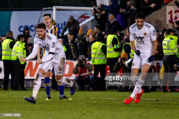 Matt Doherty of Wolverhampton Wanderers scores the equalizer in injury time during the FA Cup 4th round match between Shrewsbury Town and...