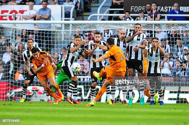 Matt Doherty of Wolverhampton Wanderers takes a free kick outside of the box during the Sky Bet Championship match between Newcastle United and...