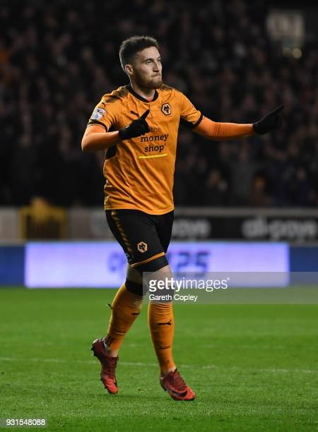 Matt Doherty of Wolverhampton Wanders celebrates scorong the opening goal during the Sky Bet Championship match between Wolverhampton Wanderers and...