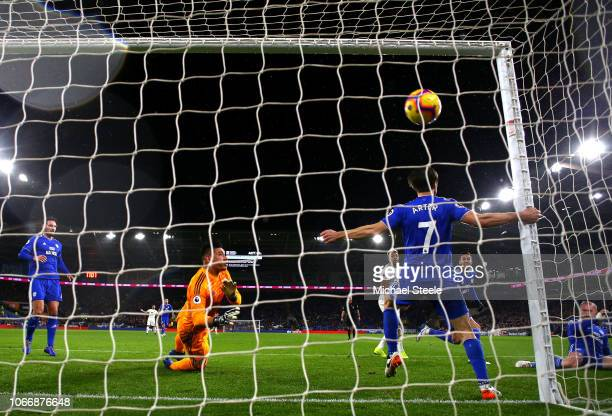 Matt Doherty of Wolves scores his sides first goal during the Premier League match between Cardiff City and Wolverhampton Wanderers at Cardiff City...