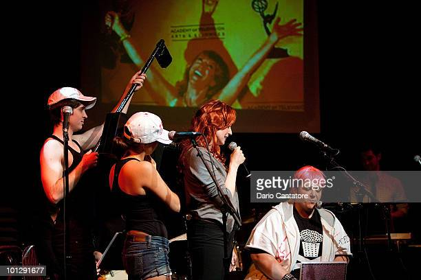 Matt Doyle Ana Nogueira Laura Jordan and Randy Blair perform during the 'Perez Hilton Saves The Universe' performance at Joe's Pub on May 30 2010 in...