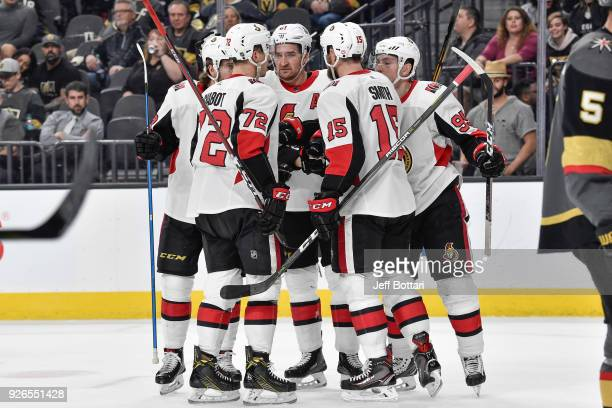 Matt Duchene celebrates his goal with teammates Zack Smith Mark Stone Thomas Chabot and Mike Hoffman of the Ottawa Senators against the Vegas Golden...