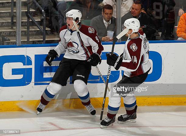 Matt Duchene celebrates his third period goal with Tomas Fleischmann of the Colorado Avalanche against the Florida Panthers on December 7 2010 at the...
