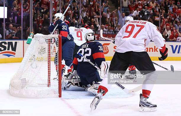 Matt Duchene celebrates with Joe Thornton of Team Canada after scoring a first period goal on Jonathan Quick of Team USA during the World Cup of...