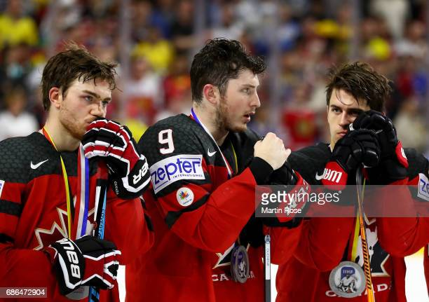 Matt Duchene of Canada looks dejected after the 2017 IIHF Ice Hockey World Championship Gold Medal game Canada and Sweden at Lanxess Arena on May 21...