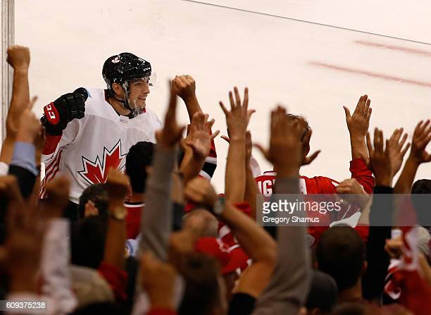 Matt Duchene of Team Canada celebrates a firstperiod goal while playing Team USA during the World Cup of Hockey at the Air Canada Center on September...