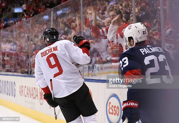 Matt Duchene of Team Canada celebrates after scoring a first period goal against Team USA during the World Cup of Hockey 2016 at Air Canada Centre on...