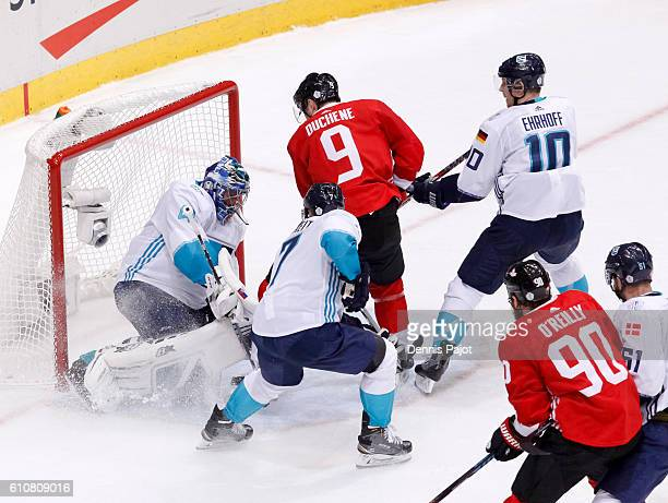Matt Duchene of Team Canada crashes into Jaroslav Halak of Team Europes net during Game One of the World Cup of Hockey final series at the Air Canada...