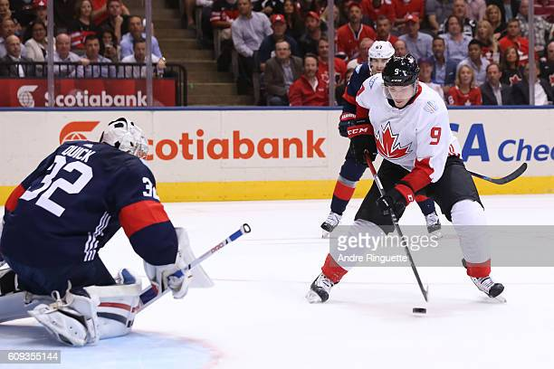 Matt Duchene of Team Canada stickhandles the puck in on Jonathan Quick of Team USA to score a first period goal during the World Cup of Hockey 2016...