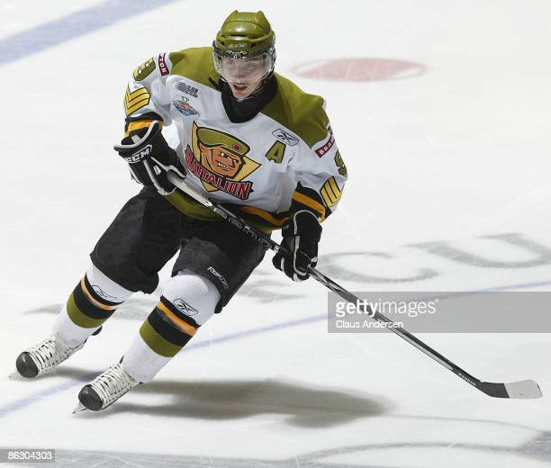 Matt Duchene of the Brampton Battalion skates against the Windsor Spitfires during Game 1 of the OHL Championship Final on April 29 2009 at the WFCU...