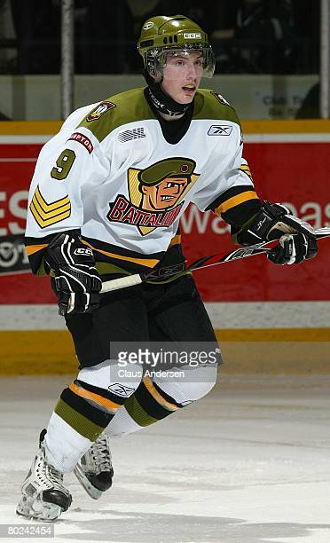 Matt Duchene of the Brampton Battalion skates in a game against the Peterborough Petes on March 12 2008 at the Peterborough Memorial Centre in...