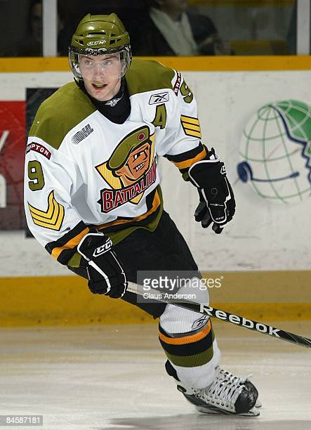 Matt Duchene of the Brampton Battalion skates in a game against the Peterborough Petes on January 31 2009 at the Memorial Centre in Peterborough...
