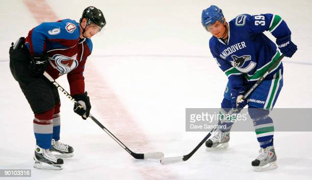 Matt Duchene of the Colorado Avalanche and Cody Hodgson of the Vancouver Canucks pose during the Upper Deck NHL Rookie Debut at the Hershey Centre...