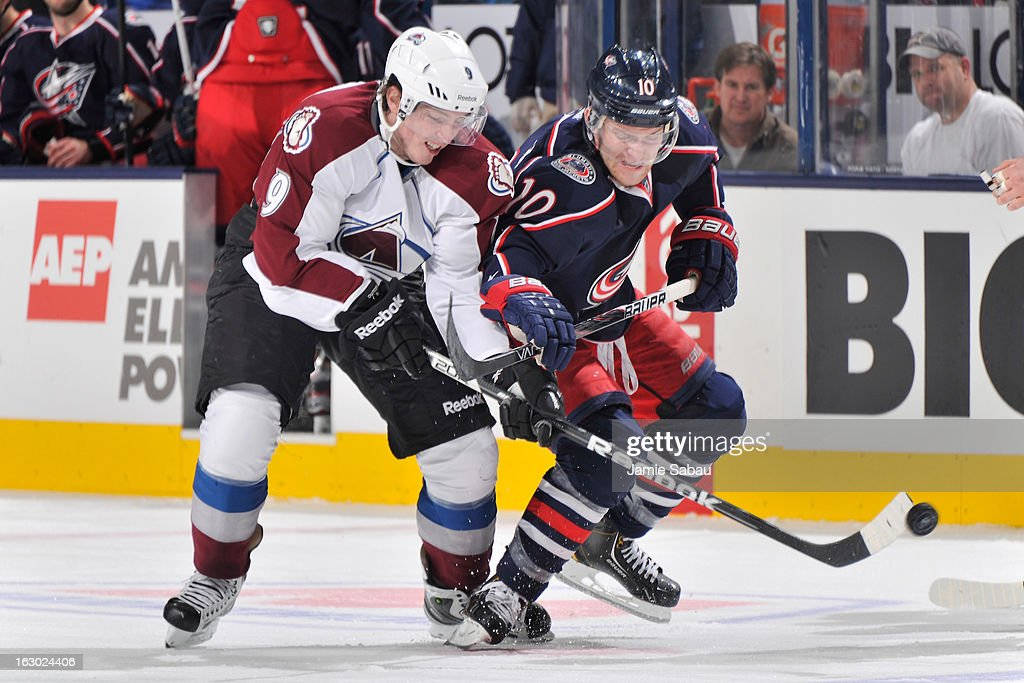 Matt Duchene #9 of the Colorado Avalanche and Mark Letestu #10 of the Columbus Blue Jackets battle for control of the puck off the face off in the third period on March 3, 2013 at Nationwide Arena in Columbus, Ohio. Columbus defeated Colorado 2-1 in overtime.