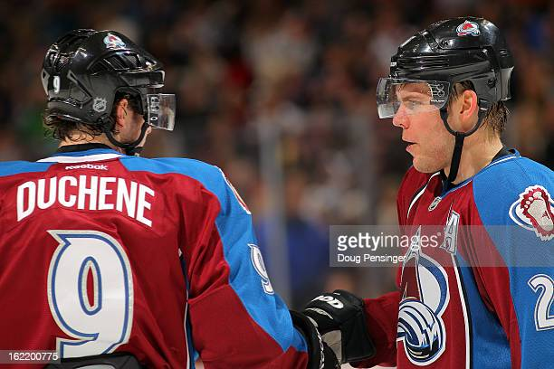 Matt Duchene of the Colorado Avalanche and Paul Stastny of the Colorado Avalanche talk during a break in the action at the Pepsi Center on February...