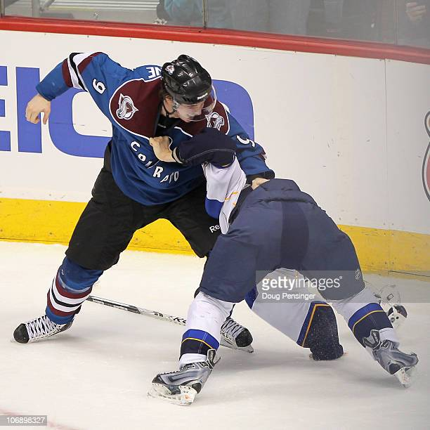 Matt Duchene of the Colorado Avalanche and Vladimir Sobotka of the St Louis Blues commence fighting in the third period at the Pepsi Center on...
