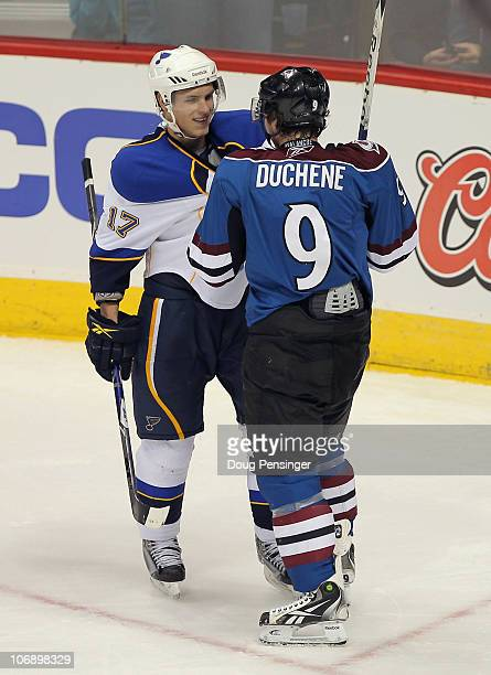 Matt Duchene of the Colorado Avalanche and Vladimir Sobotka of the St Louis Blues have words with one another just before they started fighting in...