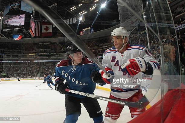 Matt Duchene of the Colorado Avalanche battles Marian Gaborik of the New York Rangers at the Pepsi Center on November 19 2010 in Denver Colorado The...