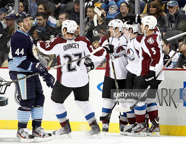 Matt Duchene of the Colorado Avalanche celebrates his first period goal against the Pittsburgh Penguins during the game at Consol Energy Center on...