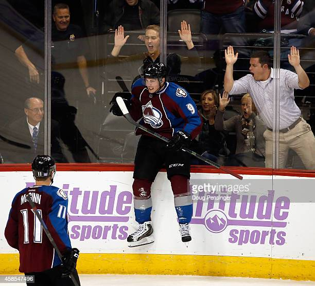 Matt Duchene of the Colorado Avalanche celebrates his goal against the Toronto Maple Leafs to take a 32 lead in the third period at Pepsi Center on...