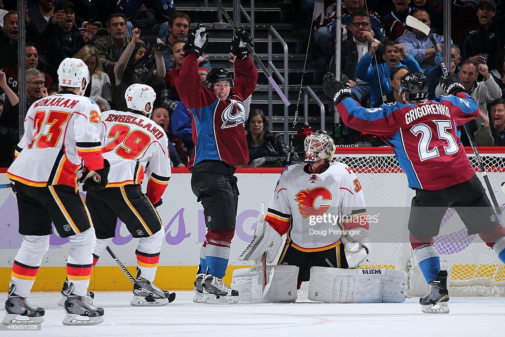 Matt Duchene #9 of the Colorado Avalanche celebrates his goal against goalie Karri Ramo #31 of the Calgary Flames to take a 5-3 lead in the third period at Pepsi Center on November 3, 2015 in Denver, Colorado. The Avalanche defeated the Flames 6-3.