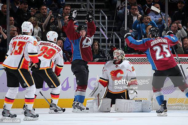 Matt Duchene of the Colorado Avalanche celebrates his goal against goalie Karri Ramo of the Calgary Flames to take a 53 lead in the third period at...