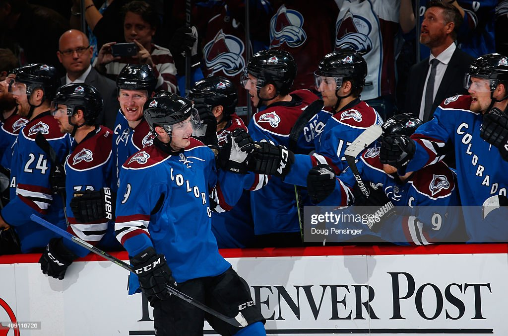 Matt Duchene #9 of the Colorado Avalanche celebrates his overtime shootout goal against the Winnipeg Jets at Pepsi Center on April 9, 2015 in Denver, Colorado. The Avalanche defeated the Jets 1-0 in an overtime shootout.